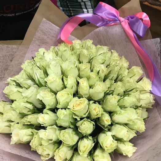 Букет из 101 белой кенийская роза: букеты цветов на заказ Flowwow