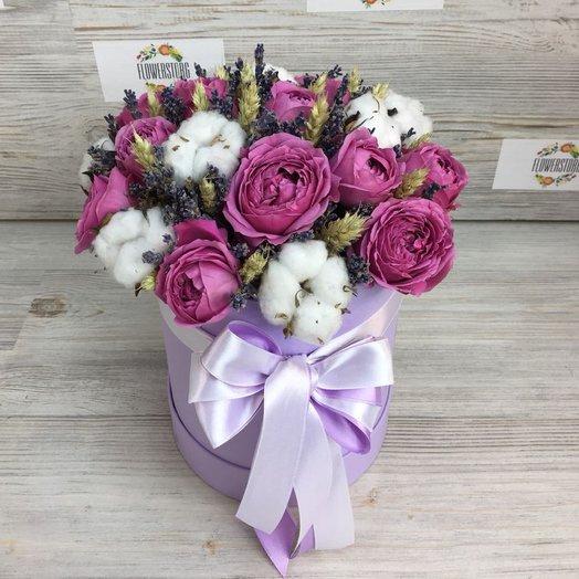 Коробки с цветами. Розы. Хлопок, Лаванда N46