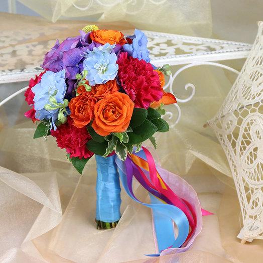 Букет невесты из роз дельфиниума и гортензии: букеты цветов на заказ Flowwow