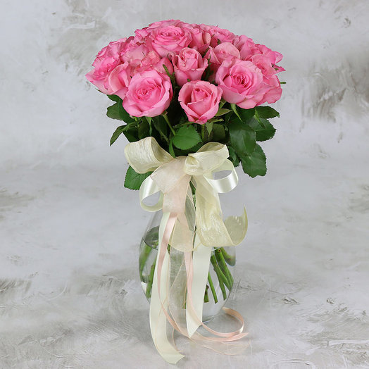 Букет из 25 розовых роз 40 см: букеты цветов на заказ Flowwow
