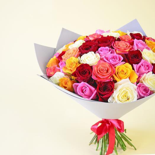 51 разноцветная роза (40 см): букеты цветов на заказ Flowwow