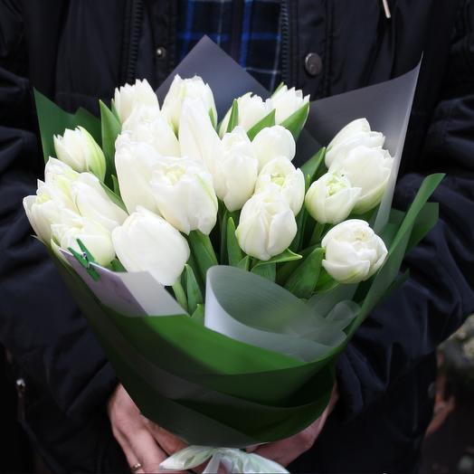 """Букет белых тюльпанов """"Белоснежка"""" 25 шт"""