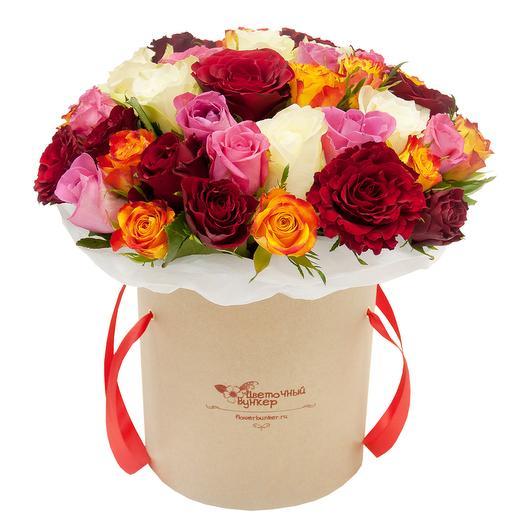 """51 роза в шляпной коробке """"Клондайк"""": букеты цветов на заказ Flowwow"""
