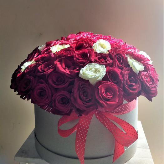 """Цветочный бокс 4 """"101 роза"""": букеты цветов на заказ Flowwow"""