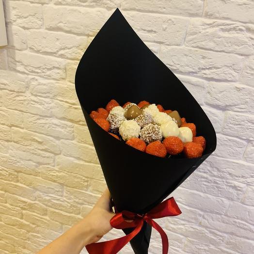 Букет из свежей клубники и клубники в шоколаде: букеты цветов на заказ Flowwow