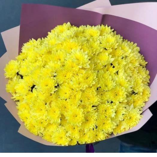 Монобукет из жёлтой хризантемы: букеты цветов на заказ Flowwow