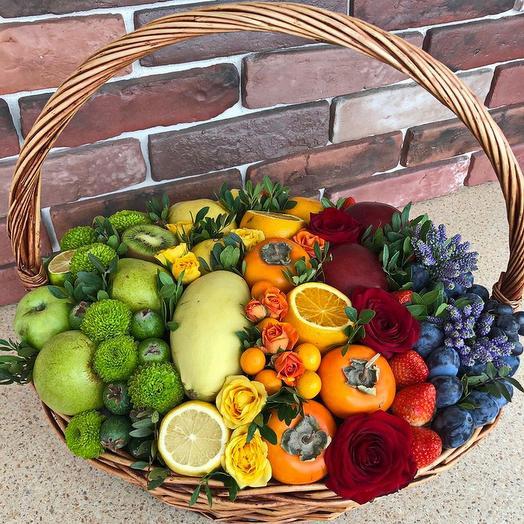 Корзина с фруктами и цветами размерXL