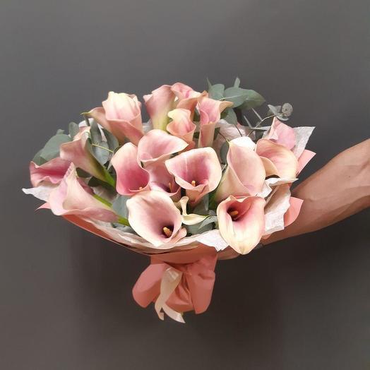 Букет из 21 нежно-розовой каллы с эвкалиптом