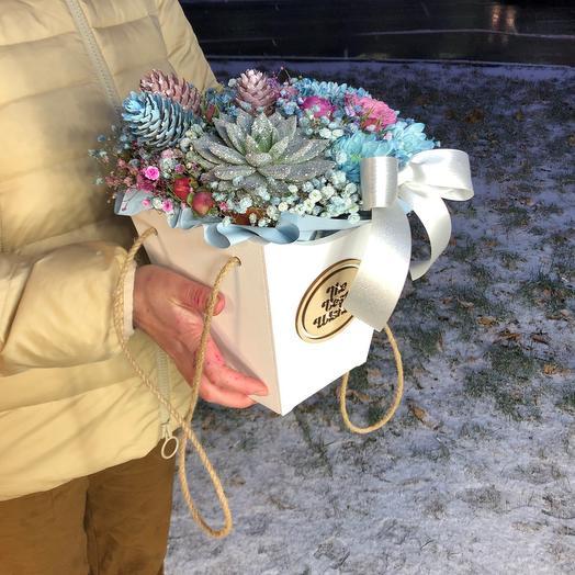Цветы в коробке с эхеверией
