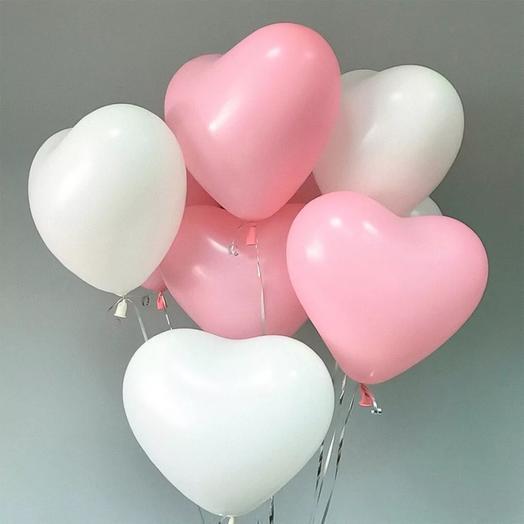 9 helium balloons heart
