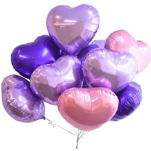 Сет из 10 фольгированных сердец
