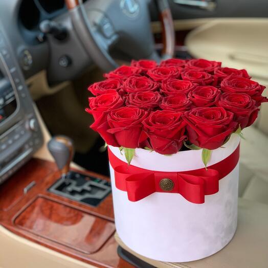 Красные розы в коробке \19шт