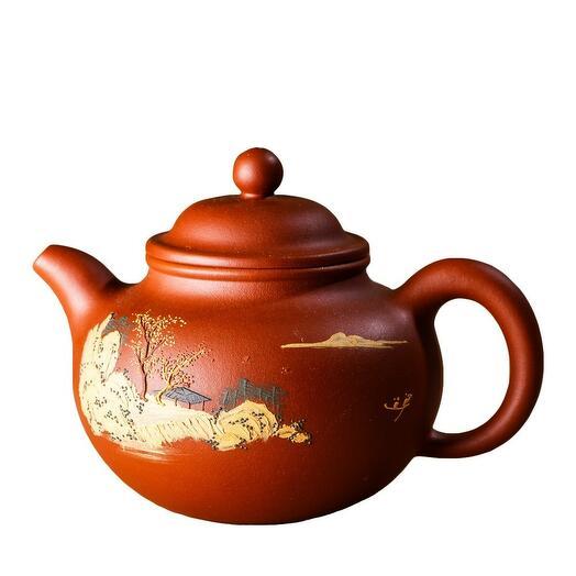 чайник исинский с ручной росписью, красная глина, 150 мл  1 шт