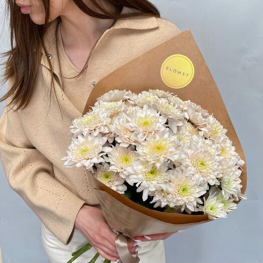 Пастельно-розовые хризантемы 9 штук