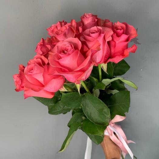Монобукет 9 Розовых роз 70см