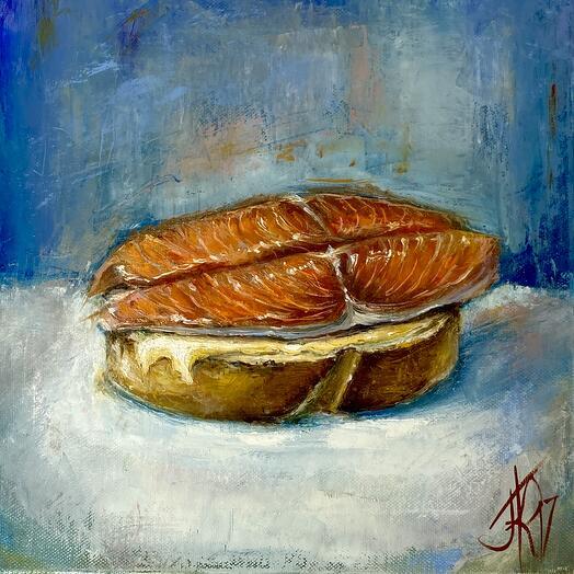 """Картина """"Кухонная серия. Бутерброд с рыбой."""" 30*30 см. масло, холст"""