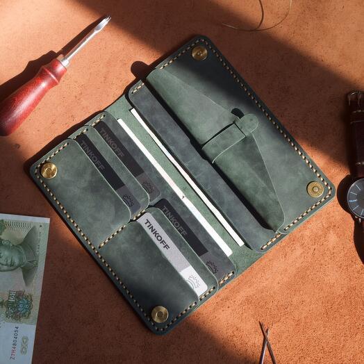 Портмоне лонгер ручной работы из натуральной кожи цвет изумруд