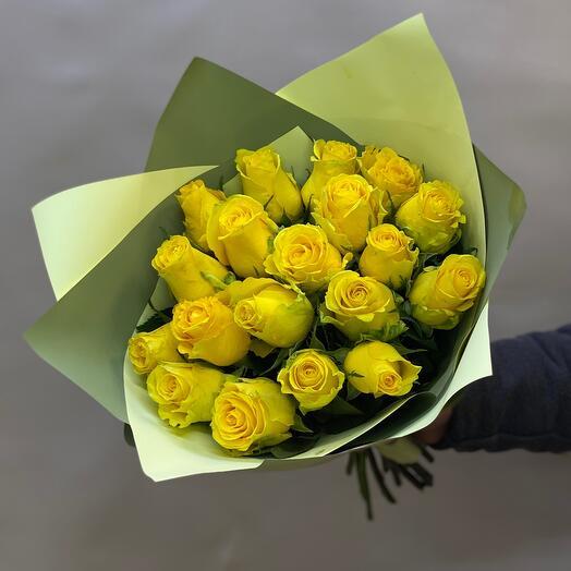 Букет из 19 желтых роз