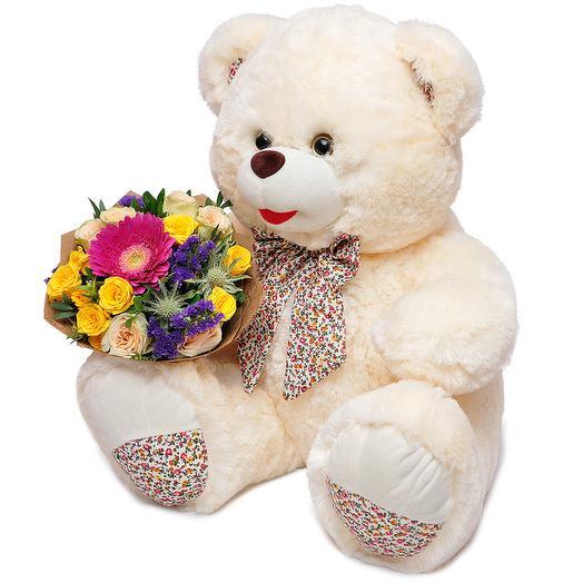 Мишка с цветами: букеты цветов на заказ Flowwow