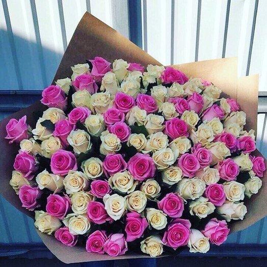 Шикарный букет из белых и розовых роз): букеты цветов на заказ Flowwow