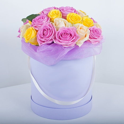 ASSORTED ROSES IN A LILAC BOX