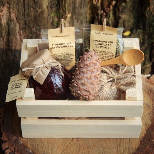 Подарочный набор в деревянном ящике: букеты цветов на заказ Flowwow