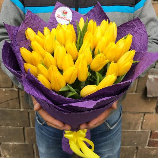 Букет из 49 жёлтых тюльпанов
