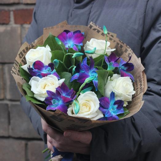 Орхидеи и розы мини: букеты цветов на заказ Flowwow