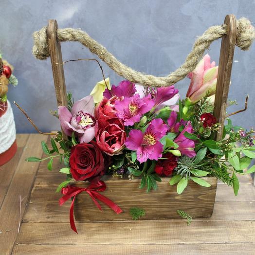 """Стильный ящик с цветами """"Силуэт"""": букеты цветов на заказ Flowwow"""