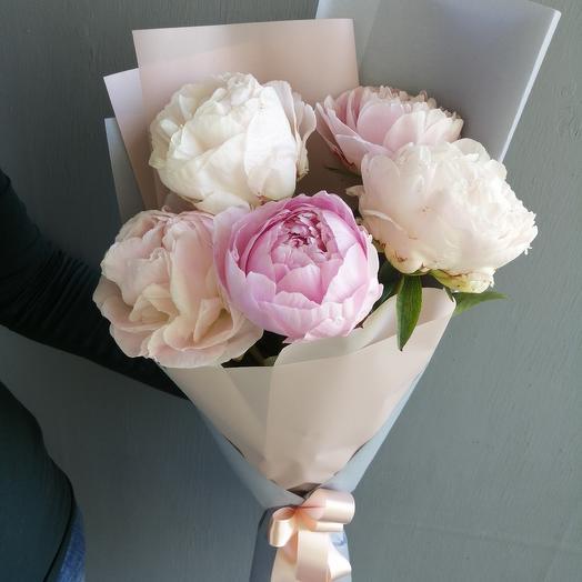 """Авторский букет из пионов,""""Ванильные небеса"""": букеты цветов на заказ Flowwow"""