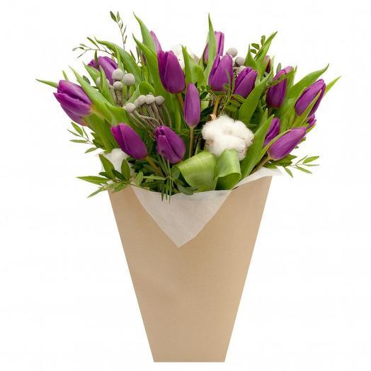 15 нежных тюльпанов: букеты цветов на заказ Flowwow
