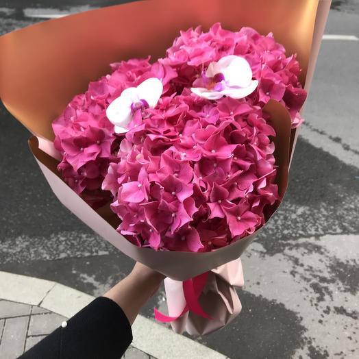 Стильная гортензия с орхидеей: букеты цветов на заказ Flowwow