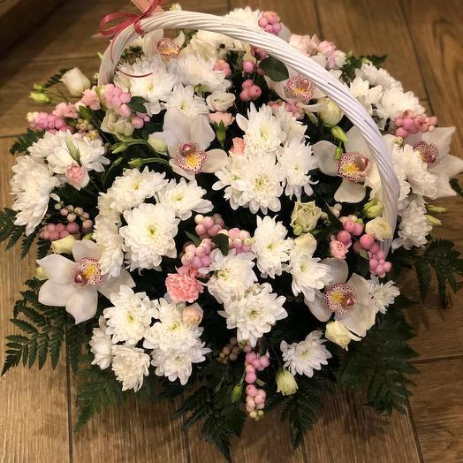 """Большая корзина цветов """" Для любимой жены """""""