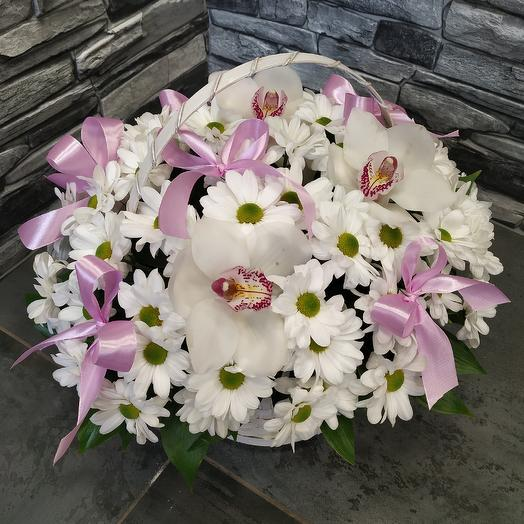 Шикарная корзина хризантем и орхидеи