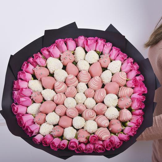 """Букет из клубники """"Розовое Облако""""Размер L: букеты цветов на заказ Flowwow"""