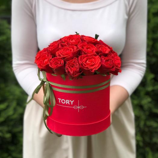 21 роза Эль Торо в шляпной коробке