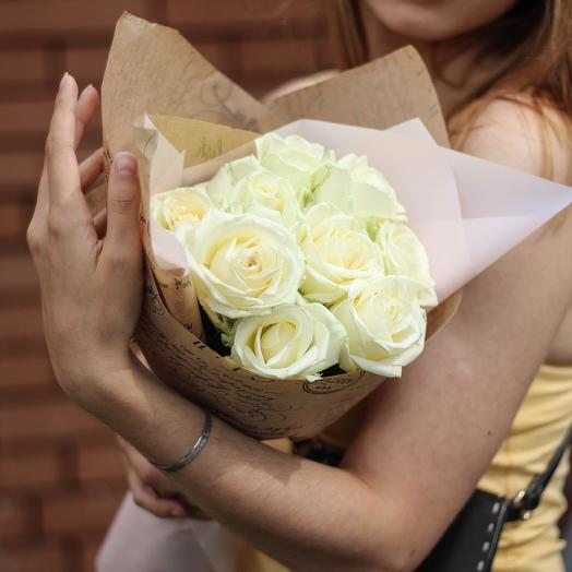 Crystal. Bouquet of 9 White Roses