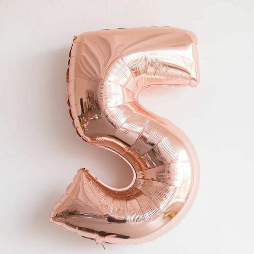"""Фольгированная цифра 5""""Розовое-золото"""""""