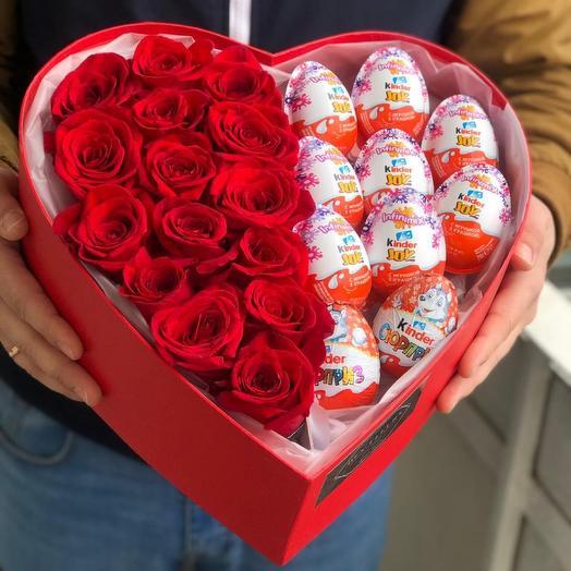 Букет Розы в коробке « Сердце «