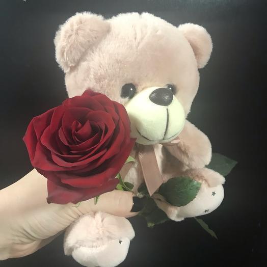 Мишка с живой розой