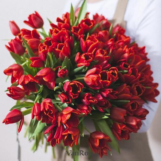 Букет 49 красных тюльпанов