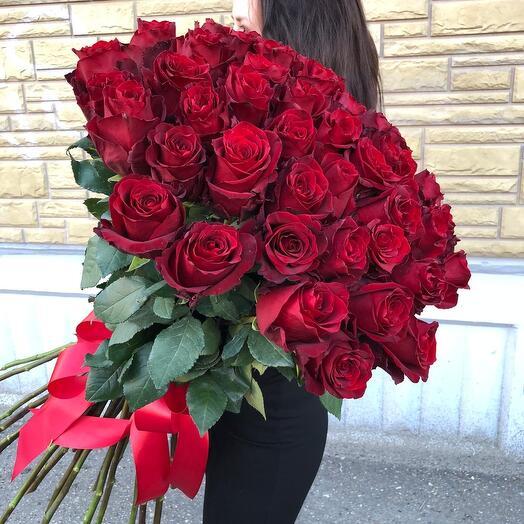 51 роза LUXE 90см