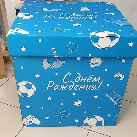 """Большая коробка сюрприз для шаров""""с днем рождени"""""""