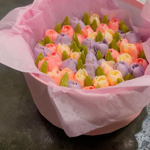 BOUQUET OF 7 FLOWER CUPCAKES TULIPS