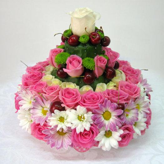 Тортик из цветов: букеты цветов на заказ Flowwow