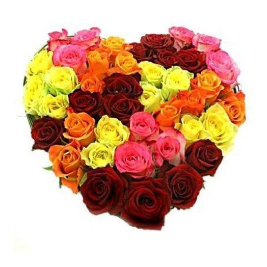 Сердце из роз (45 шт): букеты цветов на заказ Flowwow
