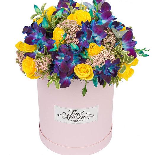 """Шляпная коробка """"Ночная прогулка"""": букеты цветов на заказ Flowwow"""