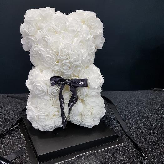 Мишка из фоамирановых роз: букеты цветов на заказ Flowwow