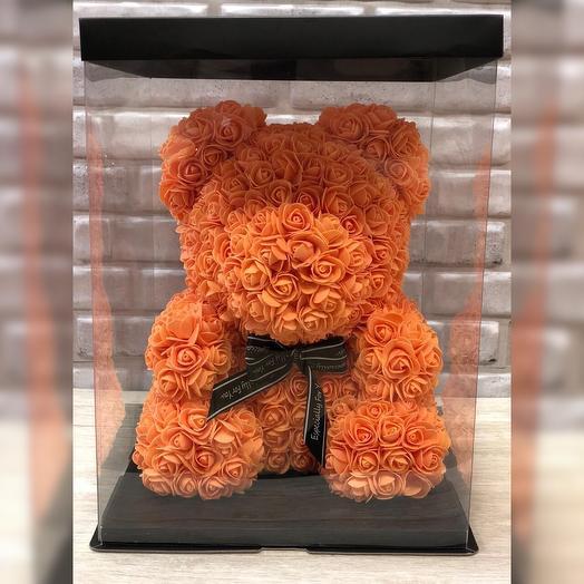 Оранжевый мишка из роз: букеты цветов на заказ Flowwow