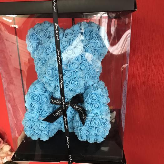 Медведь из роз, мишка голубой: букеты цветов на заказ Flowwow